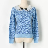 Leopard Women 2019 Autumn Winter Pullovers Blue Red Sweaters Ruffled Chiffon Collar Bow High Quality Womens Knitted Pullover