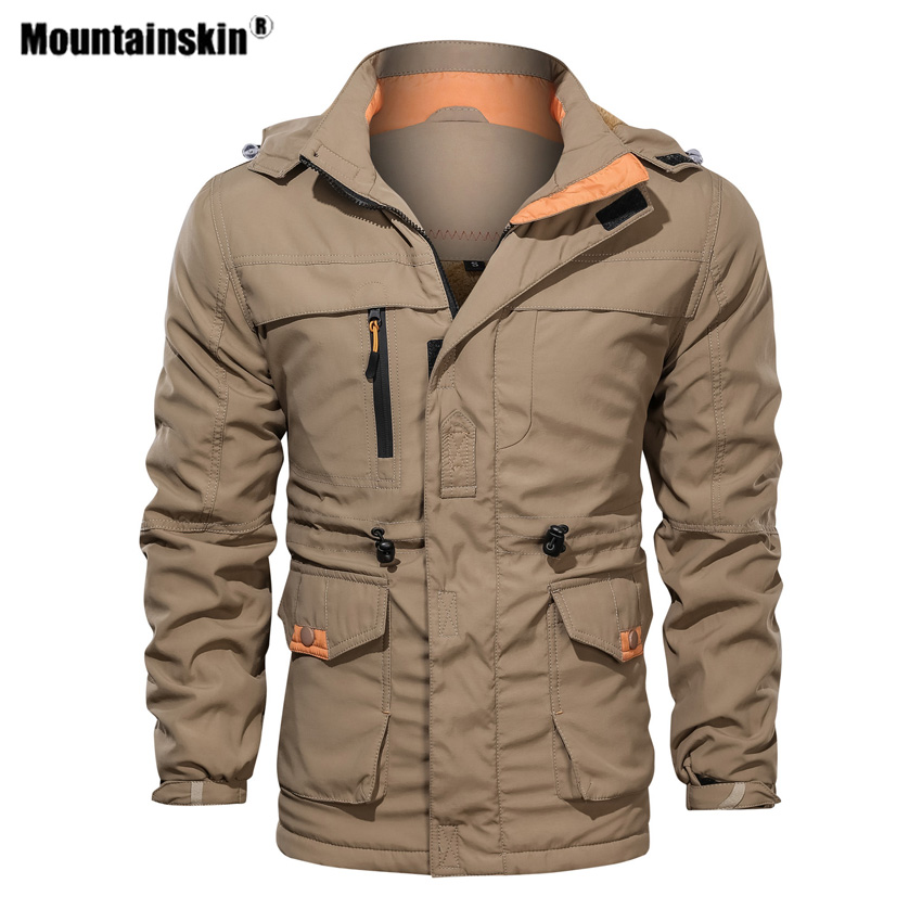Mountainskin Men's Thick Hiking Jackets Winter Outdoor Sports Hooded Fleece Coats Tooling Trekking Male Clothing EU Size VA633