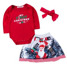 hilittlekids Christmas Children's Clothing New Girl Baby Long-Sleeved Rompers Skirt Headband 3-piece