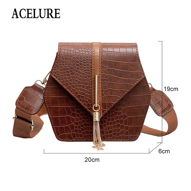 ACELURE Alligator PU Leather Shoulder Bags For Women Metal Tassel Decor Hasp Crossbody Bags All-Match Solid Color Ladies Flap