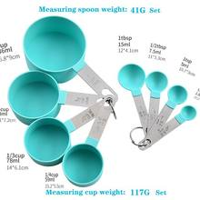 Colheres de medição da medida do condimento/copo de cozimento de medição de aço inoxidável/punho plástico cozinha gadg copos de medição colheres