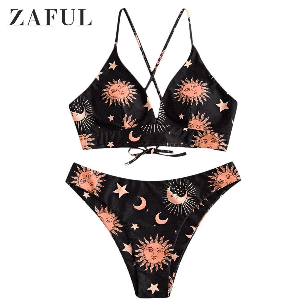 ZAFUL Star Sun Moon Lace Up Bikini Set Spaghetti Straps Wire Free Swim Suit Women Summer Bathing Suit High Cut Padded Swimwear