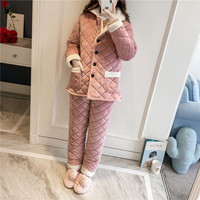 Warm Sleepwear Clothing&Pant Pyjamas Set Women Thicken Cotton Home Wear Pajamas Suit Casual Long Sleeve Keep Warm Sleepwear