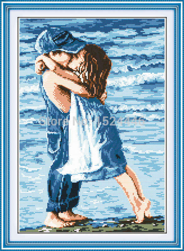 عشاق على شاطئ البحر ، عد المطبوعة على قماش 11CT عبر الابره طقم تطريز ، مجموعة الإبرة ، فتاة الطفولة وقبلة الصبي