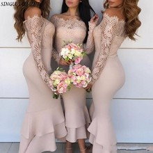 Elegant Long Sleeves Vestido madrinha Mermaid Bridesmaid Dresses Ankle Wedding Guest