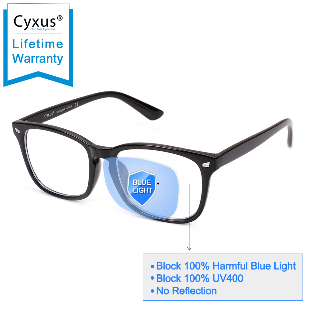 Cyxus Blue Light Filter Computer Glasses For Blocking UV Headache Transparent Lens Gaming Glasses, Unisex 8082T02