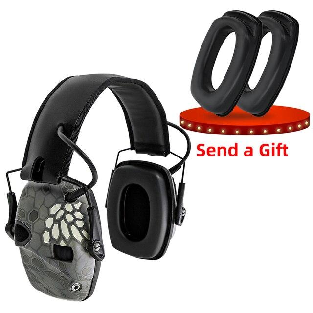 Elektroniczne nauszniki taktyczne słuchawki przeciwhałasowe wzmocnienie dźwięku strzelanie polowanie ochrona słuchu ochronne taktyczne nauszniki