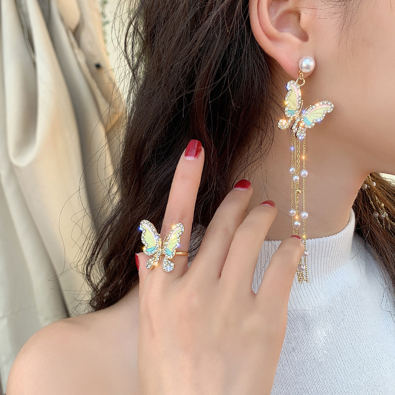 Korean new fashion pearl tassel long section color dripping fairy fairy butterfly open ring necklace earring female suit jewelry