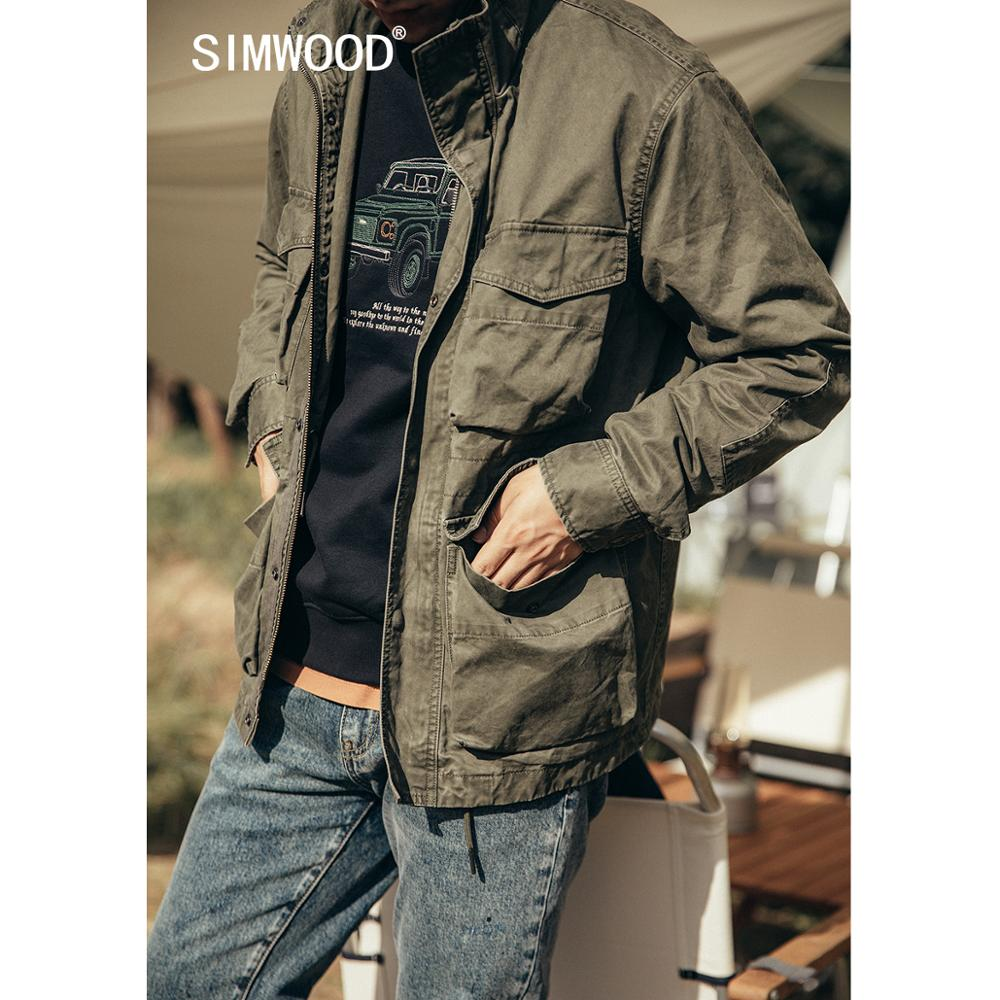 SIMWOOD 2020 Autumn <font><b>Winter</b></font> New Padded <font><b>Military</b></font> Flap Pockets Field <font><b>Jacket</b></font> Men Vintage Aesthetics Cargo Outerwear Plus Size Coats image