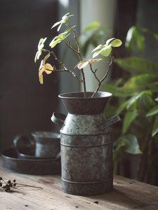 Image 3 - Bandeja de hierro Vintage Retro contenedor lata plato decoraciones para florero estilo Rural naturaleza muerta, accesorios de fotografía de alimentos