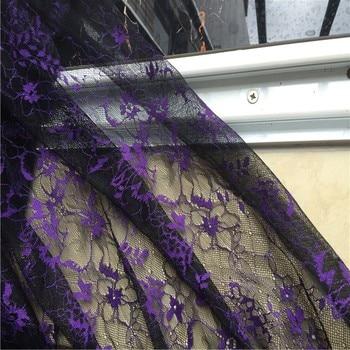 1piece /lot imported good quality thin original eyelash lace fabric dress fabric purple + black