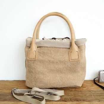 Bolso de lona portátil de color liso para mujer, bolso bandolera pequeño, bolso mensajero, cordón de lino, bolso de compras