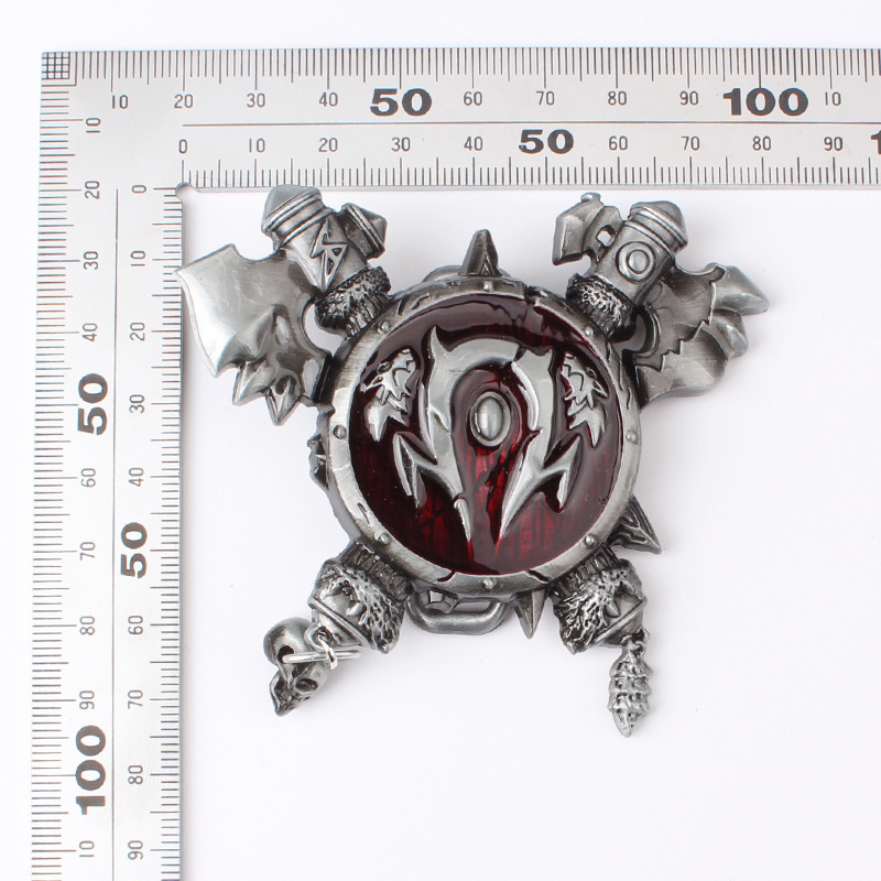 Orc shield game theme belt buckle metal DIY