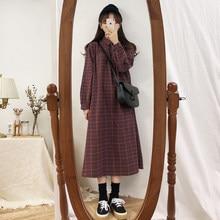 Vestido de manga comprida para as mulheres xadrez estilo coreano vintage ulzzang escola simples solto todos os jogos casual moda vestido diário