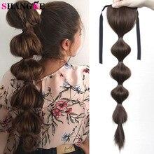 Shangke sintético cordão bolha rabo de cavalo lanterna pônei cauda grampo de cabelo extensão do cabelo cabelo loiro para mulher cabelo falso