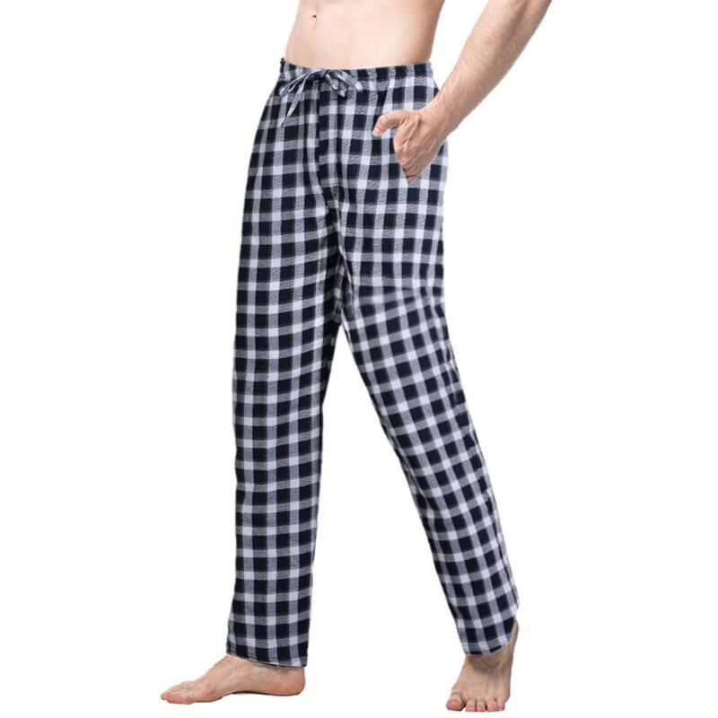 2020 Men Spring Summer Plaid Sleep Bottoms Mens Pajama Sleepwear Pants Mens Plus Size Pyjama Trousers Mens Plaid Sleep Bottoms