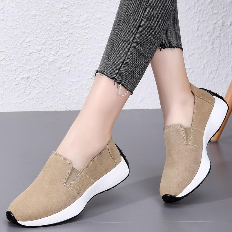 Fashion Women Flats Sneakers Cut Out Suede Leather Moccasins Women Boat Shoes Platform Ballerina Ladies Casual Shoes Women's Flats  - AliExpress