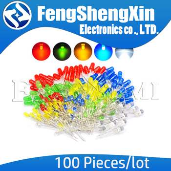 100pcs/lot 3mm 5mm LED Red Green Yellow Blue White F3 F5 - sale item Active Components