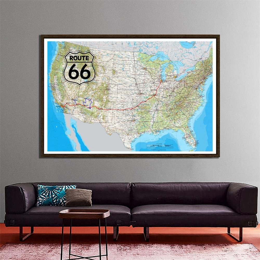 The United States Map 150x100cm Home Office Decor Map Of Route 66 Photo Studio Backdrops Photography Backgrounds
