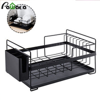 Kitchen Dish Drainer Large Dish Drying Rack with Drip Tray Silverware Storage Basket Storage Counter Organizer Utensils Holder
