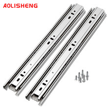 AOLISHENG Soft Close Drawer Slide Rail 10-24 Inch Three Fold Full Extended Ball Bearing Guide