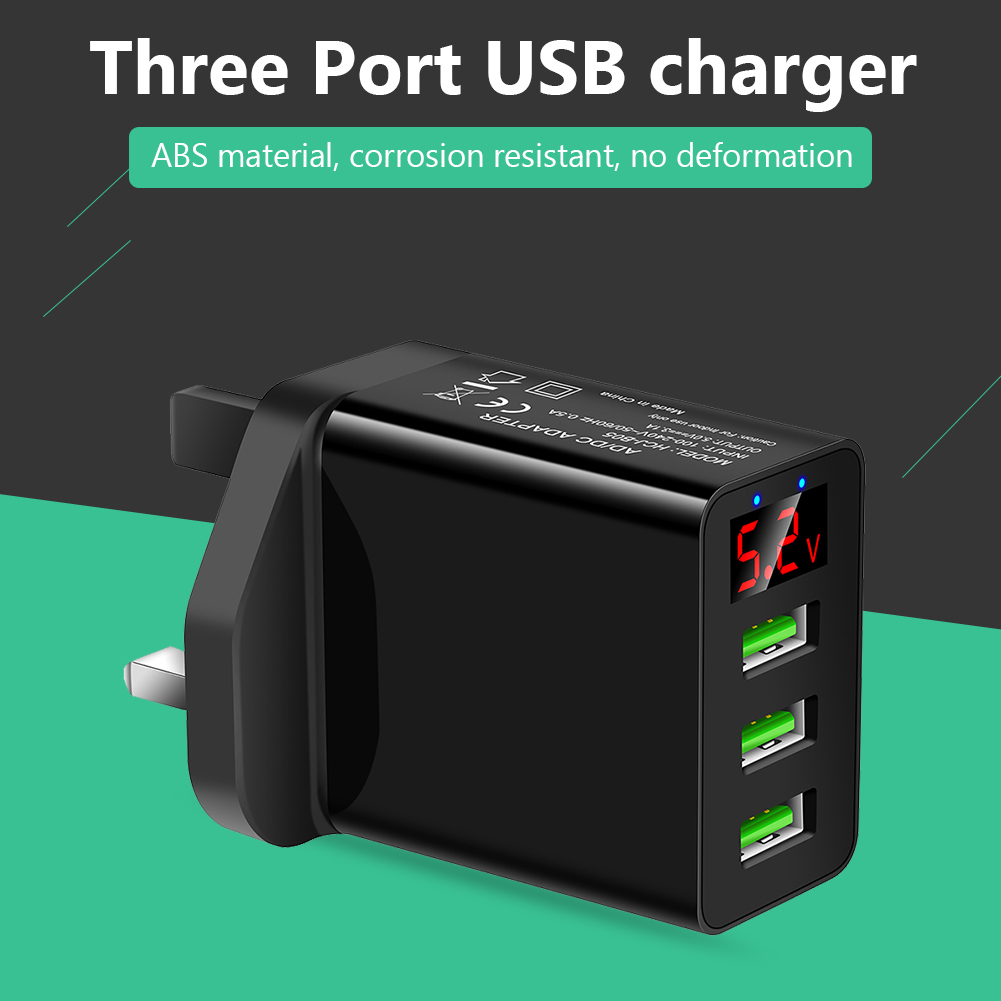 3 Ports USB 5V 3.1A Digital Display Charger Classic Colors Simple Enduring UK Plug Adapter for iPhone Samsung image