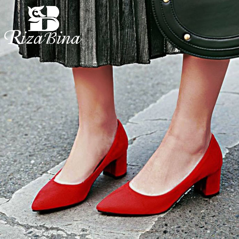 RIZABINA Shoes Women Pumps Pointed Toe Thick Heel Slip On Suede Leather Solid Color Concise Ladies Footwear Red Size 34-43