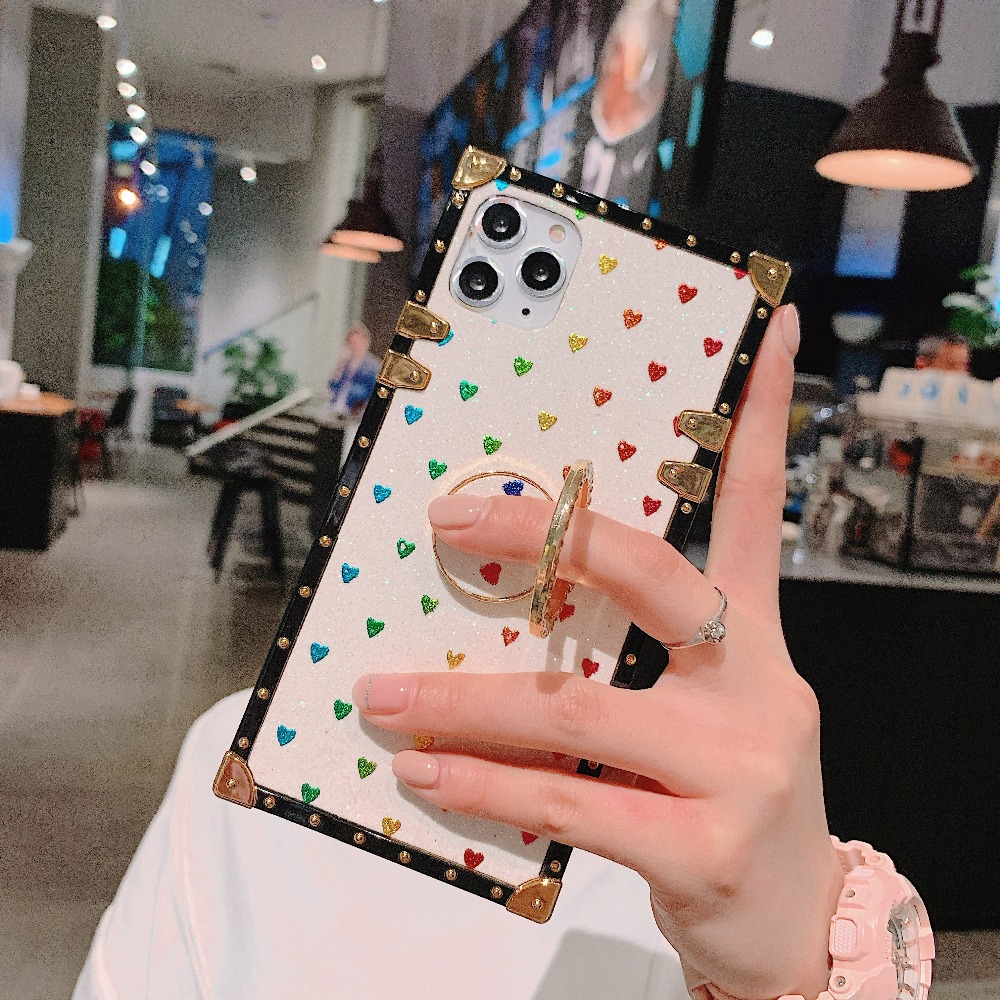 Cases For iPhone 11 Pro Max Xr Xs Max Coque Square Diamond Stand Love Heart Bling Sequins Case For iPhone X 6 6S 7 8 Plus Cover (7)