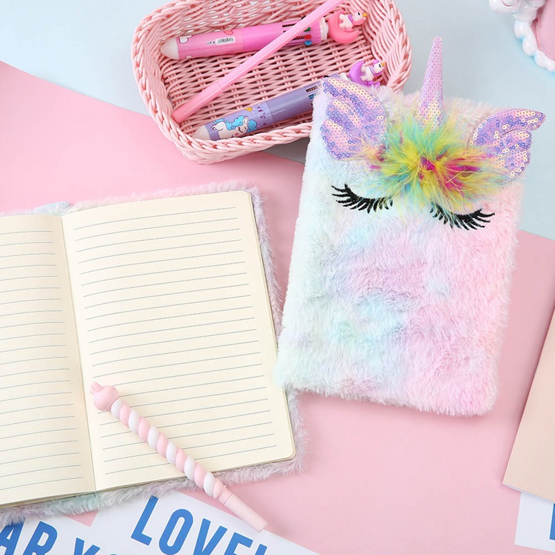 1 Pcs Cartoon Colorful Unicorn Plush Notebooks Girls Portable Pocket Diary Plan Notepad Stationery