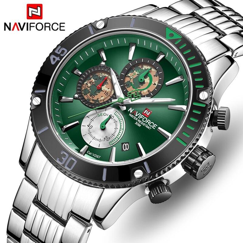 NAVIFORCE мужские часы Топ бренд большой циферблат спортивные часы мужские Роскошные Кварцевые наручные часы хронограф мужской Relogio Masculino