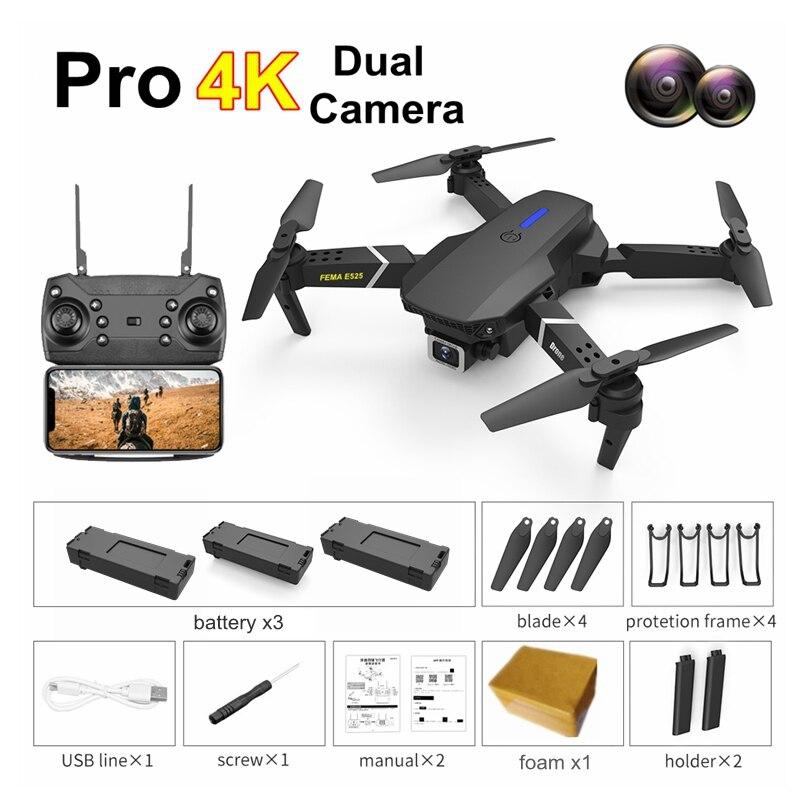 FEMA E525 WiFi FPV Drone with HD 4K Camera Altitude Hold Auto Follow Optical Flow Foldable RC Quadcopter Aircraft Toy Mini Dron