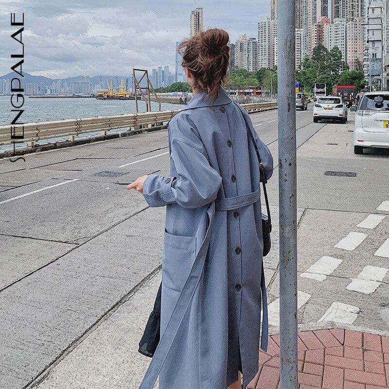 SHENGPALAE 2019 Autumn Clothing Lapel Both Row Buckle Windbreaker Loose Coat Woman Temperament Long Fund Woman Overcoat FV323