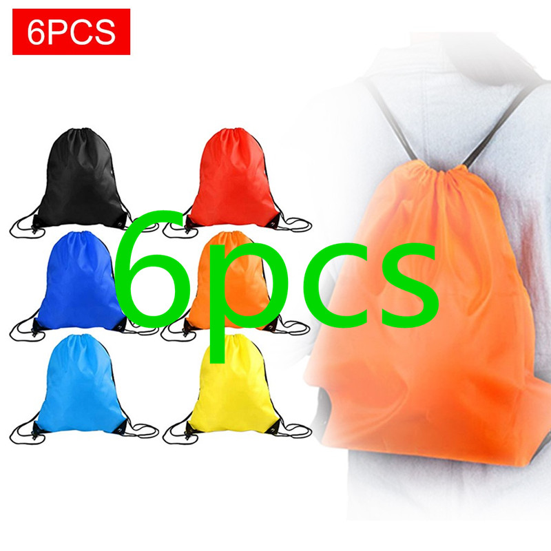 6 Pieces String Drawstring Storage Bag Back Pack Student Cinch Sack Gym Tote Bags Large Capacity Book School Sport Shoe Bag New