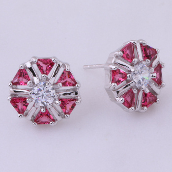 Love Monologue Endearing Rose Red Round Crystal Cubic Zirconia Stud Earrings Silver Color Jewelry For Women X0041 image