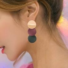 Korea Metal Sequins Geometric Drop Earrings For Women Fashion 2 Color Splice Alloy Dangle Earring Female Jewelry Accessories