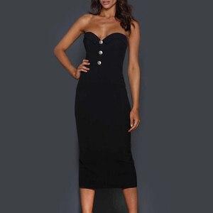 Image 5 - 2020 חדש קיץ תחבושת שמלה אלגנטי לבן סקסי Bodycon גבירותיי כפתור סטרפלס סקסי אופנה מועדון מסיבת עגל שמלה