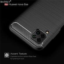 For Huawei Nova 7i Case Nova 7i Soft Silicon Back Cover Shockproof Bumper Carbon Fiber TPU Texture Phone Case For Huawei Nova 7i эллиптический эргометр horizon andes 7i viafit