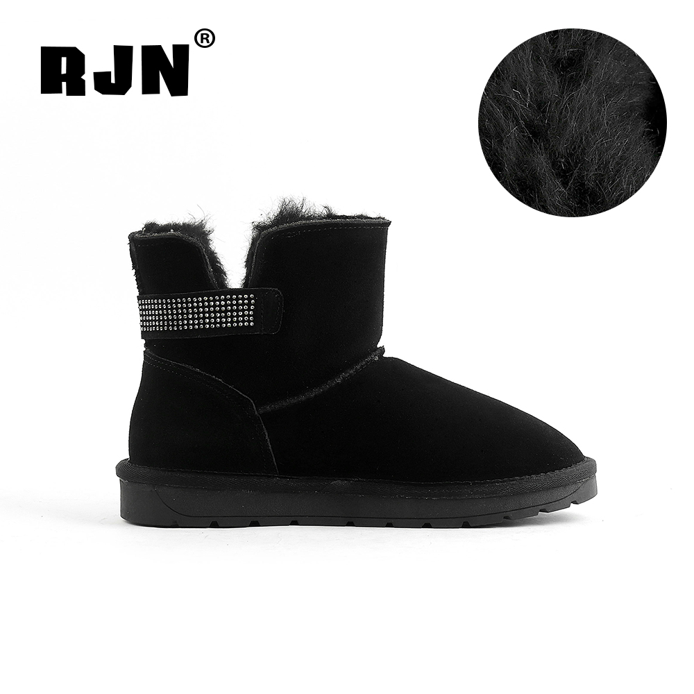 Promo RJN Black Flock Snow Boots Small Dots Decoration Slip-On Comfortable Round Toe Low Heel Shoes Women Ankle Boots For Winter RX33