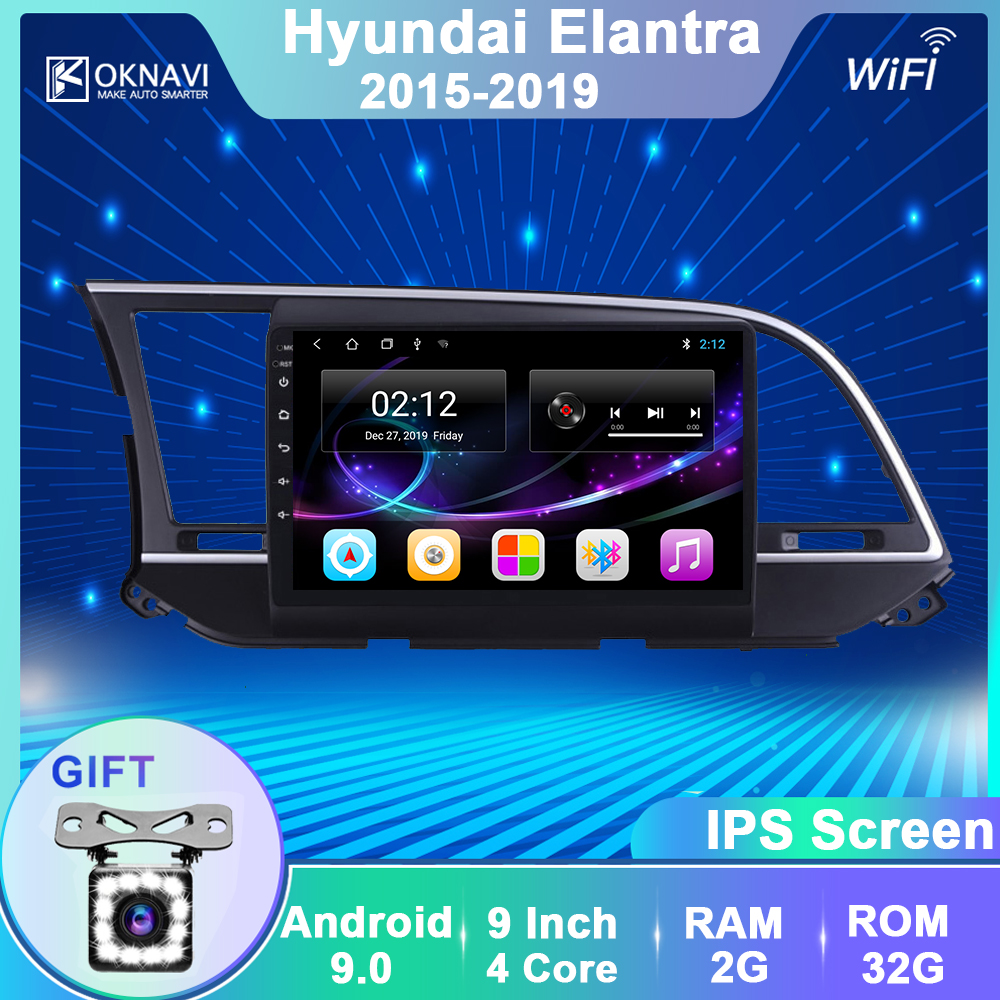 OKNAVI Android 9.0 Car Radio Multimedia Video Player For Hyundai Elantra  2015 2016 2017 2018 2019  Navigation GPS 2 Din No DVD