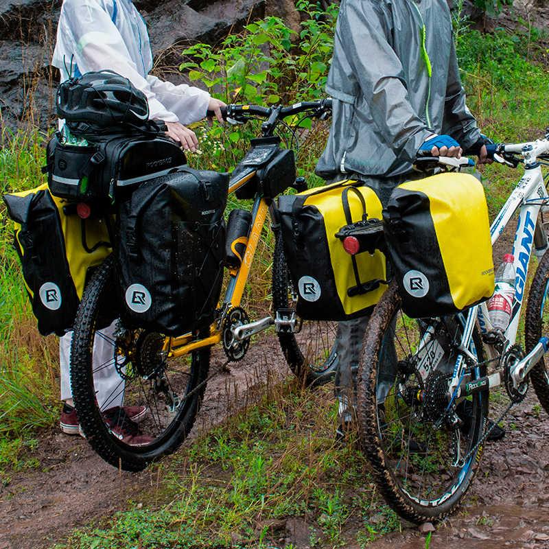 Rockbros saco de bicicleta à prova d10-água 10-18l portátil saco pannier traseiro rack cauda assento tronco pacote ciclismo mtb saco da bicicleta acessórios