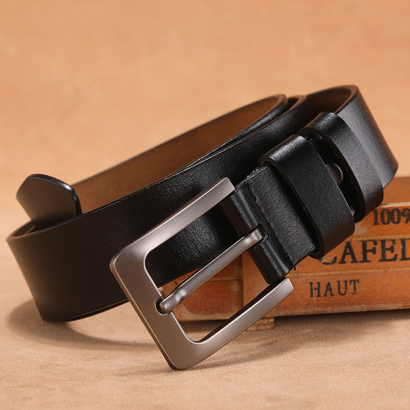 Men Belt Original Pure Genuine Leather Luxury Brand High Quality Vintage Classic Metal Pin Buckle Waist Belts For Jeans 2020