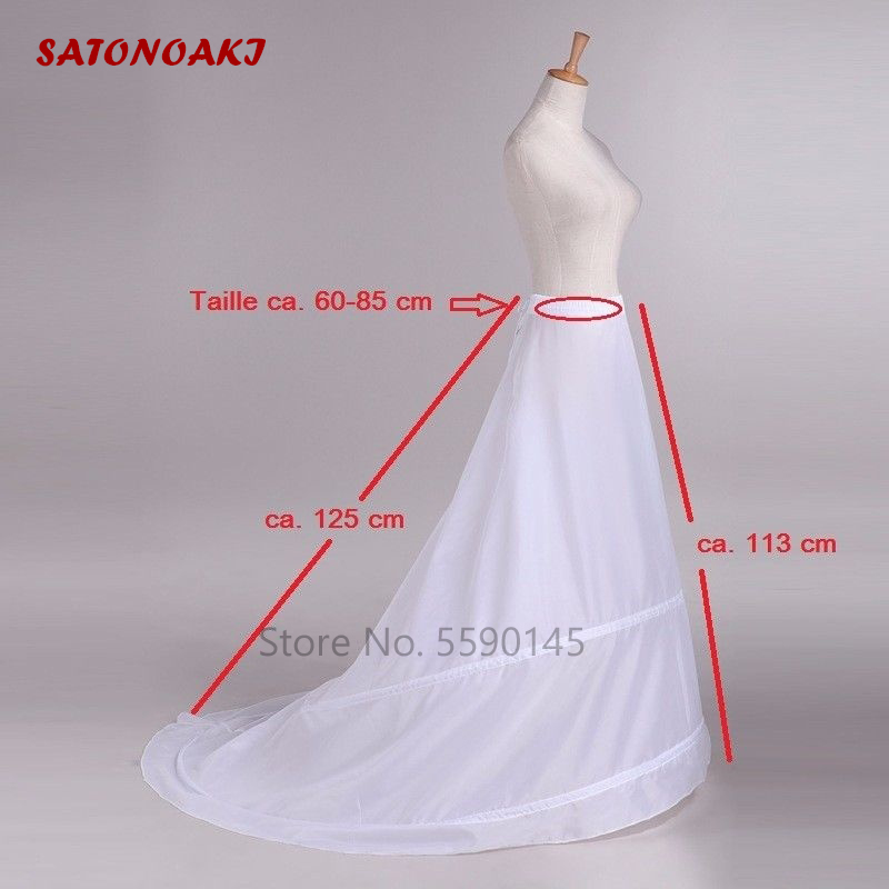 2020 New Petticoats With Train White 2 Hoops Underskirt Crinoline For Bride Formal Dress In Stock Fashion Wedding Accessories