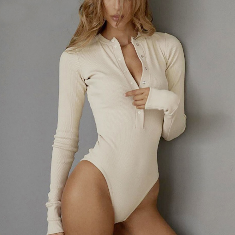 Women Beige Black Long Sleeve Bodysuits Buttons Slim Rompers Ladies Sexy V Neck Knitted Bodysuit