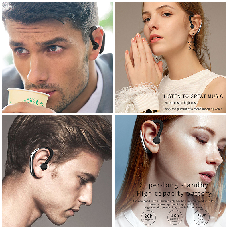 Купить с кэшбэком H500 Bluetooth V5.0 Drive Earphones Wireless Headset Hook Design Comfortable Mobile Phone Alternate Earbud For Left/Right Ear