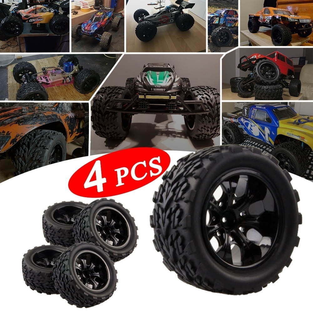 High Quality Tyre Wheel Rim Big Truck Off-Road Car Tires Set For HPI HSP Traxxas 1:10 RC Monster Bigfoot Car Buggy Tire 2019 Hot