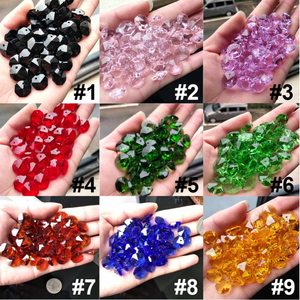 10PC Crystal AB Glass Art Lamp Prism Chandelier Chain Part DIY Octagon Bead Ornament 14MM DIY Spacer Connector