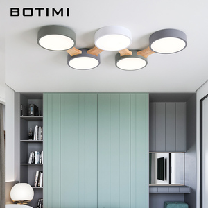 Image 2 - BOTIMI 220V LED Ceiling Lights With Round Metal Lampshade For Living Room Modern Surface Mounted Ceiling Light Wood Bedroom Lamp