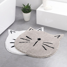 Cute Skin Gray Entrance Mat Cat Shape Floor Mat Anti-slip Floor Kitchen Carpet Toilet Tapete Water Absorption Rug Porch Doormat