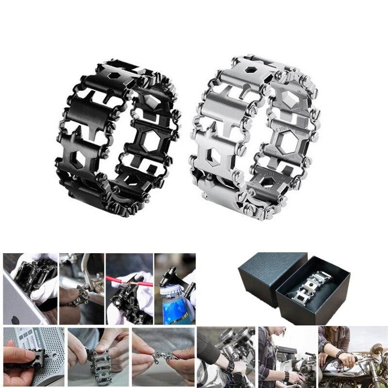 29 In 1 Multifunctional Tread Bracelet Stainless Steel Outdoor Survival Bolt Kits MenLadies Wearable Multitool Hand Tools Set