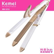 Kemei plancha de pelo 3 en 1 para rizar el cabello, plancha plana de hierro corrugado multifunción, plancha de maíz, rodillo peinado calentado, herramientas 40D